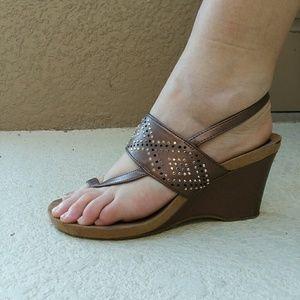 STYLE & CO. Bronze Wedge Heeled Sandal